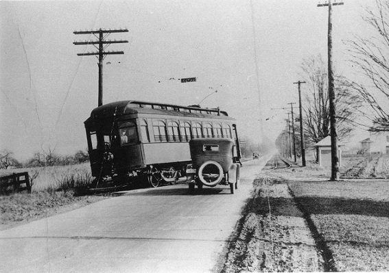 "Cleveland, Painesville, and Eastern Railroad Co. streetcar, ""the interurban"", at the Dayton Road crossing"